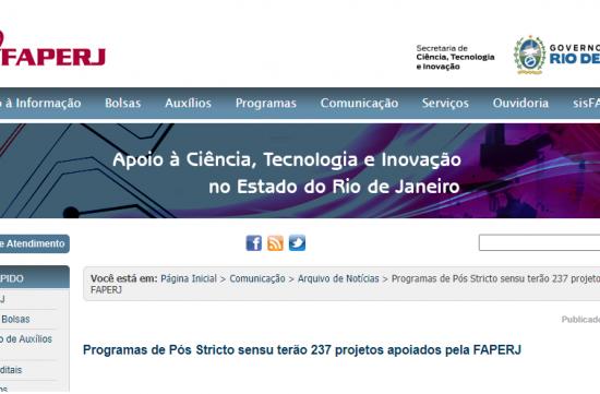 Programas de Pós Stricto sensu terão 237 projetos apoiados pela FAPERJ